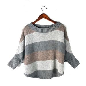 Ann Taylor sweater knit striped pullover poncho M